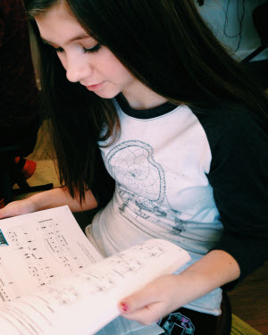 Emily and her new piano books